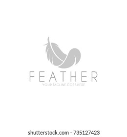White feather. Logo. Isolated feather on white background
