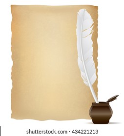 white feather pen and old papyrus. vector illustration