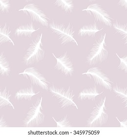 White feathers on pastel background; seamless vector pattern