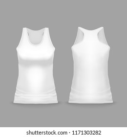 White female sport tank top vector illustration of 3d realistic casual or sportswear or T-shirt mockup model for promo branding. Isolated template of sleeveless woman vest or gym wear for print design