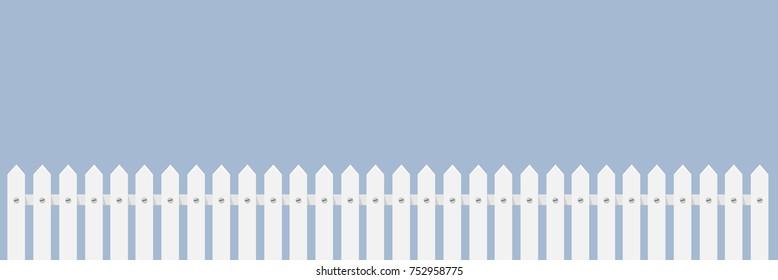white fence flat design