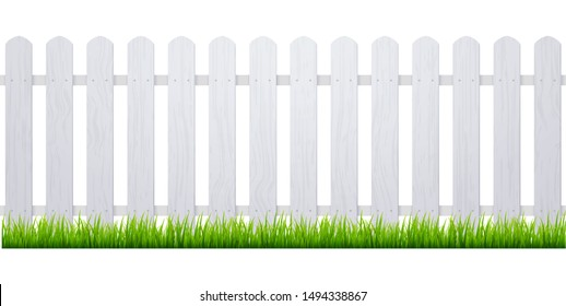 White fence with grass. Wooden picket background isolated farm garden barier illustration.