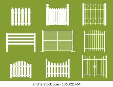 White fences of different shapes vector cartoon flat set isolated on background.