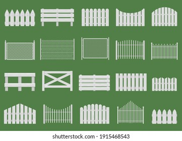 White fences. Wooden fences, garden or house wood fencing. Rural white fence isolated vector illustration set. Wooden fence farm, barrier garden, wood fencing