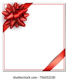White festive square card with red satin bow. Vector paper illustration.
