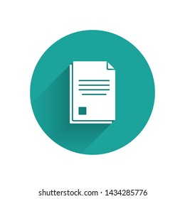 White File document icon isolated with long shadow. Checklist icon. Business concept. Green circle button. Vector Illustration