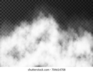 White fire smoke or  fog isolated on transparent background.  Steam special effect.  Realistic  vector mist texture.