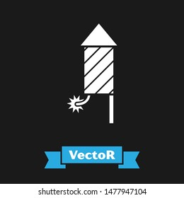 White Firework rocket icon isolated on black background. Concept of fun party. Explosive pyrotechnic symbol.  Vector Illustration