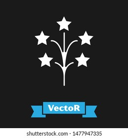 White Fireworks icon isolated on black background. Concept of fun party. Explosive pyrotechnic symbol.  Vector Illustration