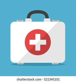 White first aid kit isolated on blue background. Health, help and medical diagnostics concept. Flat design. Vector illustration. EPS 8, no transparency