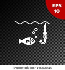 White Fishing hook under water with fish icon isolated on transparent dark background. Fishing tackle.  Vector Illustration