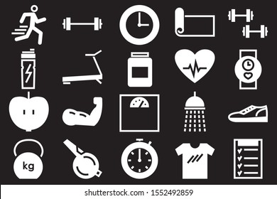 white fitness and sport  icons set isolated on black background