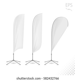 White Flag Blank Expo Banner Stand. Trade show expo booth Template mock up for your expo design.