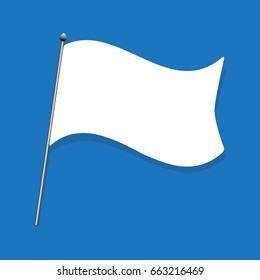 white flag, capitulate illustration on blue background. : idea wave the white flag.