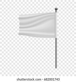 White flag on flagpole mockup. Realistic illustration of white flag on flagpole vector mockup for web