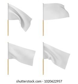 white flags set vector illustration