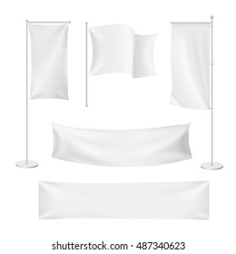 White flags and textile banners folds template set. Advertising blank banner, fabric canvas poster, vector illustration