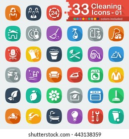 White flat cleaning icons