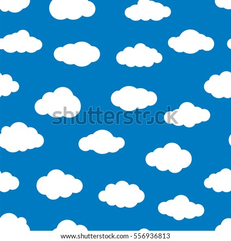 White Flat Clouds On The Blue Sky Seamless Vector Pattern Various Shapes Of