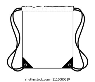 White Flat Drawstring Bag Vector With Black Rope.