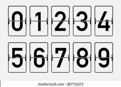 White flip counter with black numbers. Isolated on white.