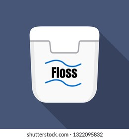 White floss box icon. Flat illustration of white floss box vector icon for web design