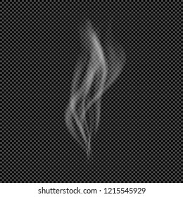 White Flow of Smoke from Smoking Isolated on Transparent Background  - Vector Column of Fume, Trickle of Steam from Vaporizer