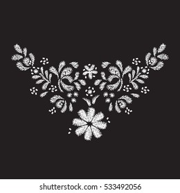 white flower embroidery  artwork design for neckline clothing, isolated vector