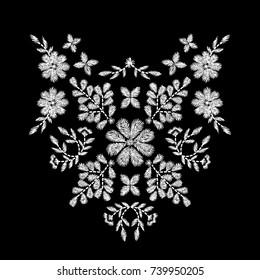 white flower embroidery artwork design for neckline clothing, isolated vector