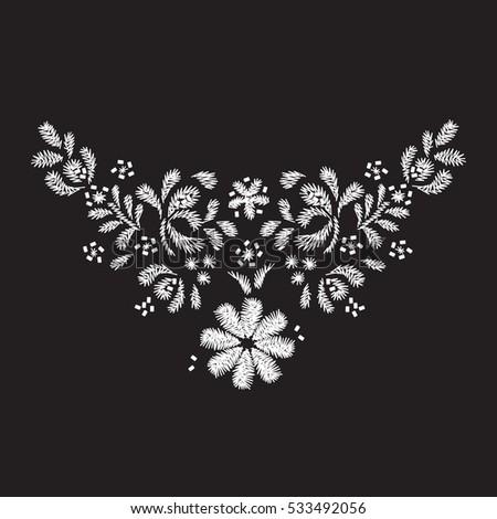 White Flower Embroidery Artwork Design Neckline Stockvector