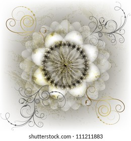White flower with gold leaf on marble background