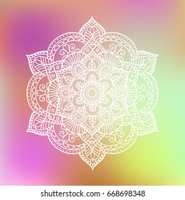 White flower hand drawn mandala on colorful background. Vintage decorative element, vector illustration