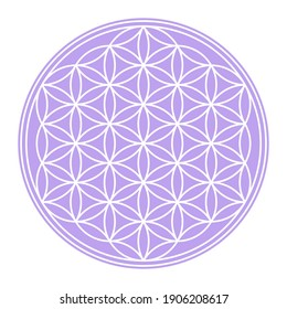 White Flower of Life on a pastel purple circular field. Geometric figure and spiritual symbol of the Sacred Geometry. Overlapping circles forming a flower like pattern. Illustration over white. Vector
