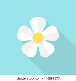 White flower on blue background. Icon with long shadow. Flat design. Vector illustration. EPS 8, no transparency
