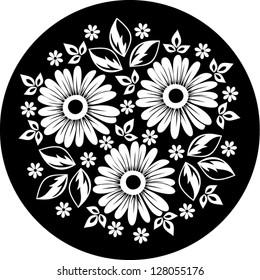 White flower ornament on a black background. Vector illustration.