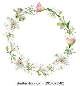 White flowers. Floral background. Green leaves. Eustoma. Lilies. Pink. White. Wreath.