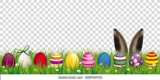 White flowers in grass with colored easter eggs and hare ears on the checked background. Eps 10 vector file.