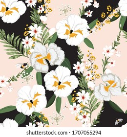 White Flowers and Leaves Print Pattern