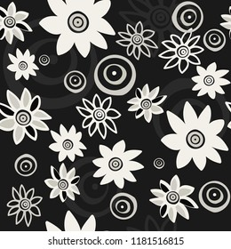 White flowers on a black background. For your design. Vector.