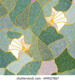 White flowers on a green background of leaves. Vector composition of Datura flowers. Stained glass window for interior design. Tiffany stained glass. Leaded pane.