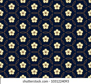 White flowers on a indigo background. Simple geometric lace allover ornament. Decorative floral oriental lattice. Spring garden seamless vector design. Vintage folk print for fabric, interior textile.