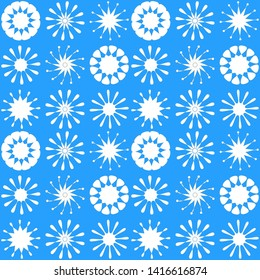 White Flowers on SkyBlue Background - Seamless Vector Pattern Desing   for various Fabrics and Paper Projects