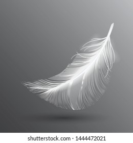 White flying bird feather isolated on dark background. Realistic 3d vector illustration of falling dove feathers or elegant soft plume