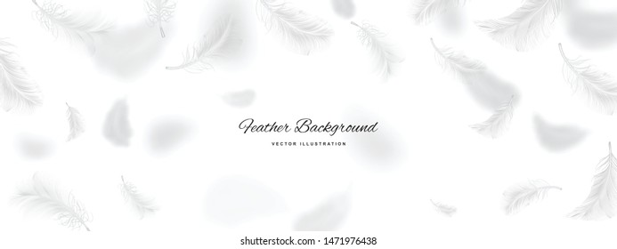 White flying bird feather pattern on light background. Realistic 3d vector illustration of falling dove feathers texture or elegant soft plume backdrop