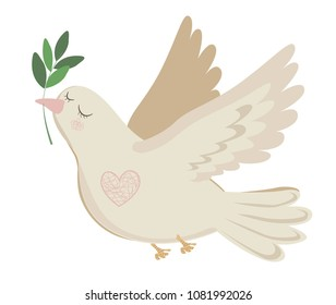 white flying dove with olive branch. cute flat dove of peace vector illustration