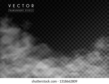 White  fog, clouds or smog on transparent background. Vector effect mist and smoke