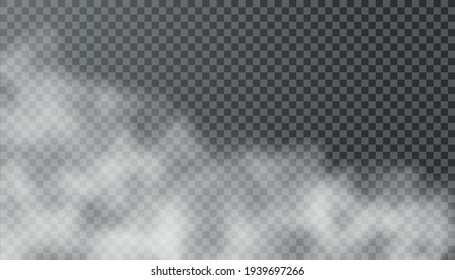 White fog texture isolated on transparent background. Steam special effect. Realistic vector fire smoke or mist. PNG.