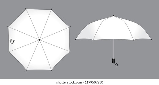 White Foldable Umbrella Vector Of Top and Side View.