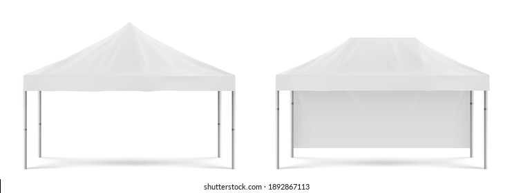 White folding promotion tent, outdoor mobile marquee for party on beach or in garden, marketing exhibition or trade. Vector realistic mockup of blank festival awning isolated on white background