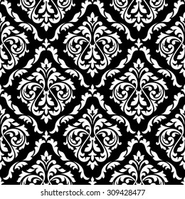 White foliage damask seamless pattern with victorian leaf scrolls, decorated flower buds on black background for luxury wallpaper or interior accessories design